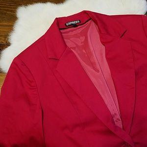 Express Raspberry Pink 3/4 Sleeve Work Blazer 8